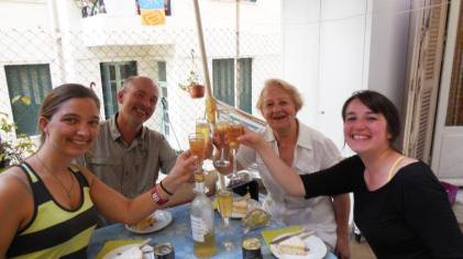Anneliese Ramin, Michael Dorsher, Isoline Gatti, and myself toast to America and France on Gatti's terrace. © 2014 Clay Suddath