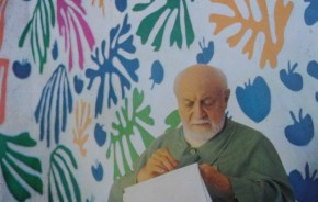 "Henri Matisse with ""The Parakeet and the Mermaid."""